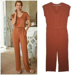 Soft Surroundings Roslyn Jumpsuit 1X Burnt Orange